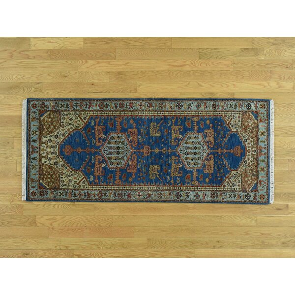 One-of-a-Kind Brenton Natural Dyes Antiqued Bakshaish Handwoven Blue Wool Area Rug by Isabelline