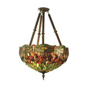 Deals 4-Light Tiffany Nouveau Insects Hanginghead Dragon Chandelier By Meyda Tiffany