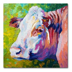 'White Face Cow' Print on Wrapped Canvas by Ebern Designs