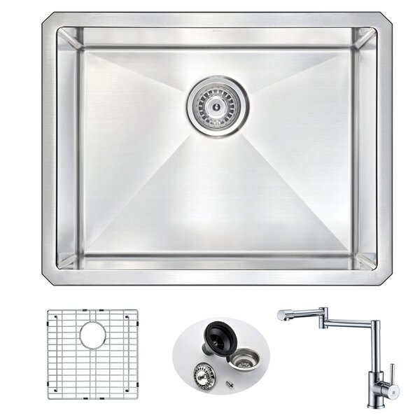 Vanguard 23 L x 18 W Single Bowl Undermount Kitchen Sink with Faucet by ANZZI