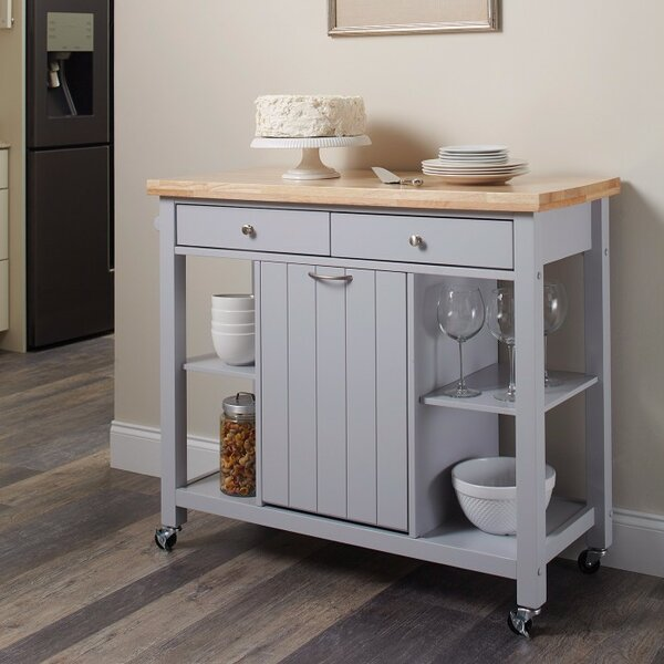 Delrick Modish Kitchen Island with Casters by Highland Dunes