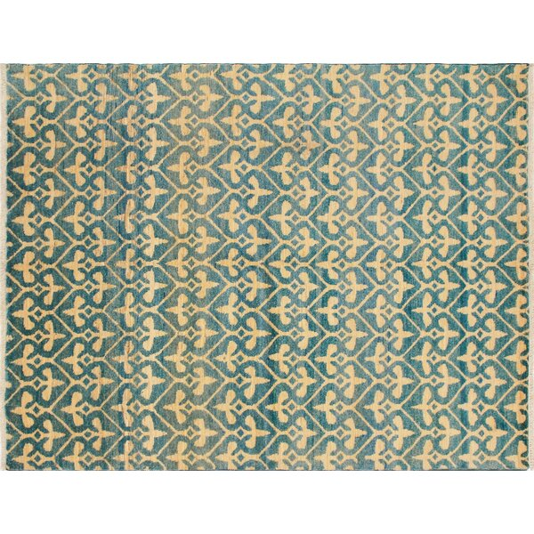 One-of-a-Kind Hand-Knotted Haleigh Hand-Knotted Light Blue Area Rug by Noori Rug