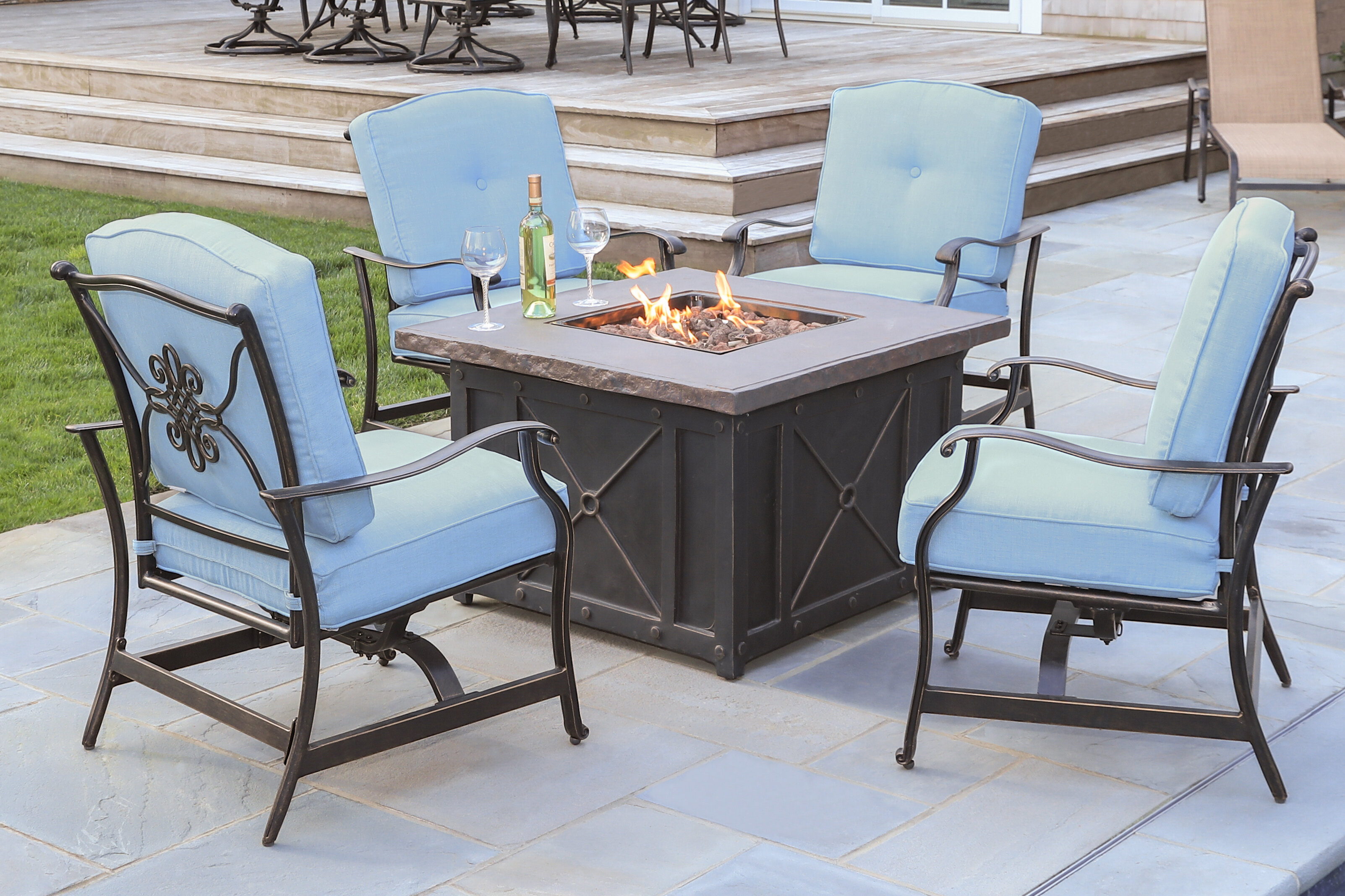 Patio Tables With Fire Pits Sets