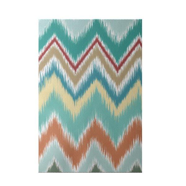 Ikat-arina Stripe Print Jade Indoor/Outdoor Area Rug by e by design