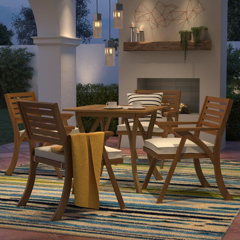 Gentil Ajax 5 Piece Dining Set With Cushions