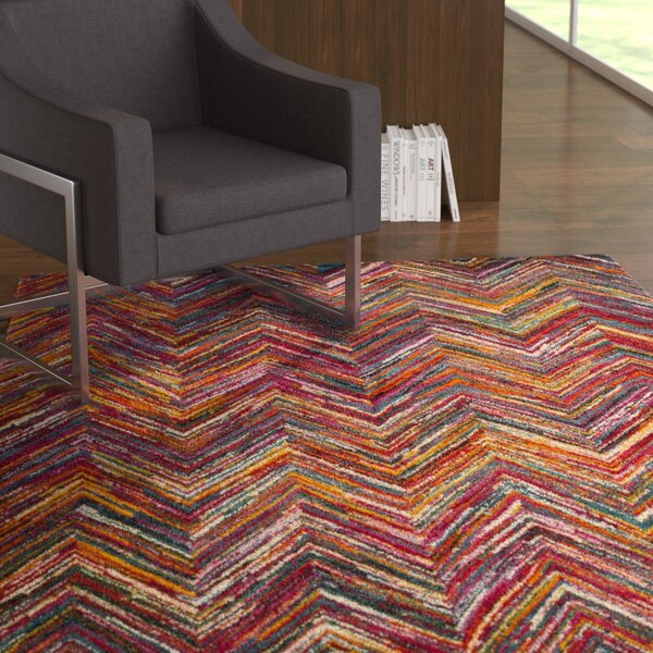 Miley Red/Orange/Green Area Rug by Latitude Run