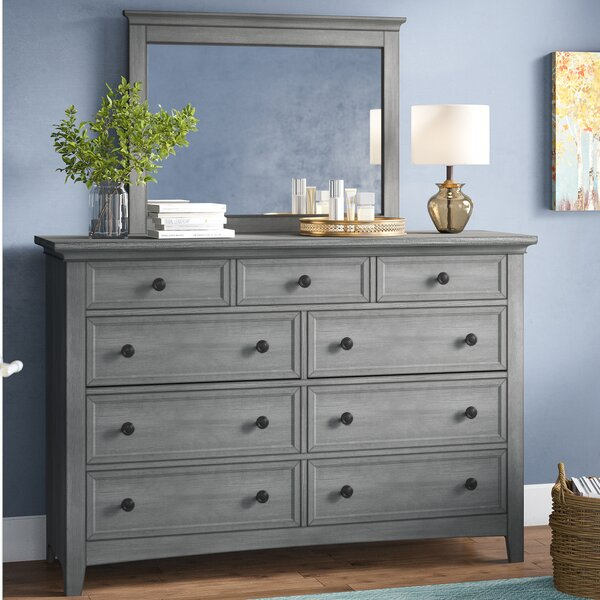 Woodside 9 Drawer Dresser with Mirror by Three Posts