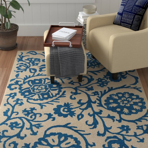 Aylor Hand-Tufted Royal Blue/Off-White Area Rug by Winston Porter