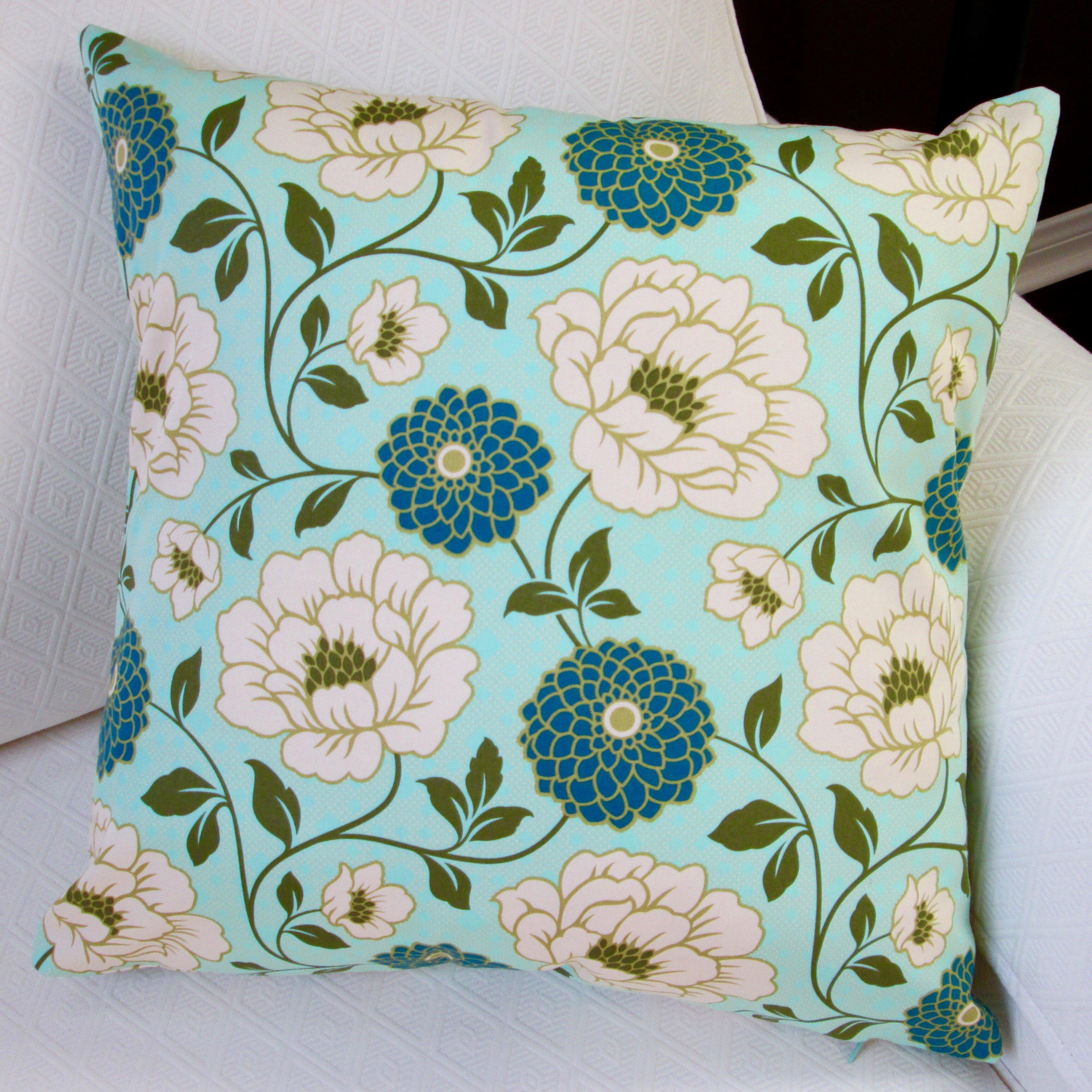 Wayfair Modern Pillow : Artisan Pillows Bungalow Dahlia Flowers Modern Indoor Cotton Throw Pillow Wayfair