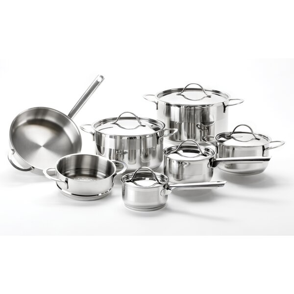 Sabine 12 Piece Pro Round Stainless Steel Cookware Set by Symple Stuff