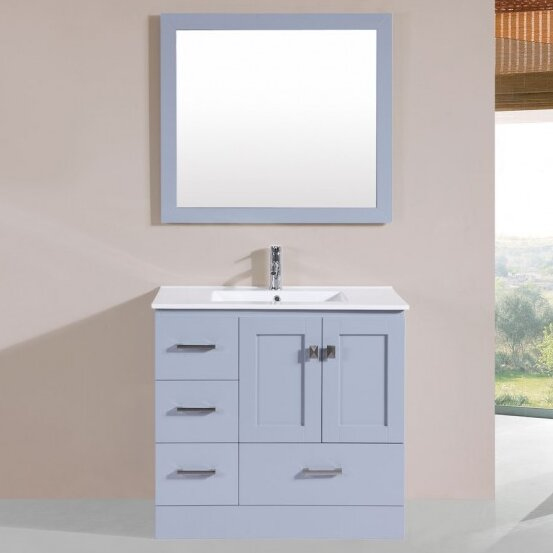 Landrum Modern 36 Single Bathroom Vanity Set with Mirror by Latitude Run