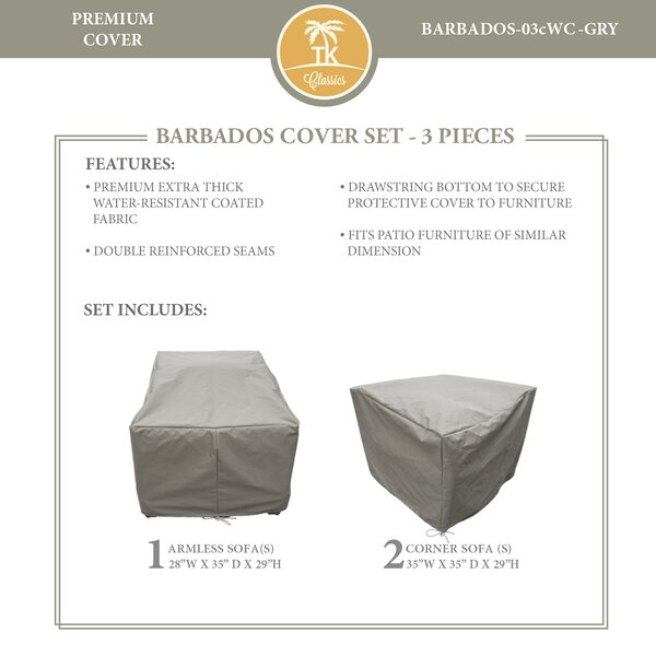 Barbados Protective 3 Piece Water Resistant Patio Furniture Cover Set by TK Classics