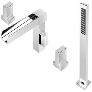 Roman tub faucet with sprayer wayfair glymur dual handle deck mounted roman tub faucet with hand shower publicscrutiny Images