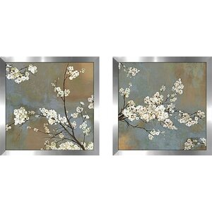 Blossoming Tree' 2 Piece Framed Acrylic Painting Print Set Under Glass by Winston Porter