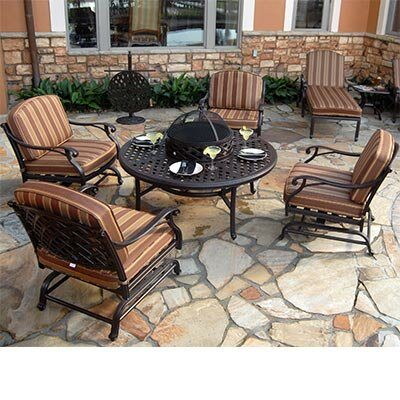 Laneon Fire Pit Set Sunbrella Seating Group with Cushions by Art Frame Direct
