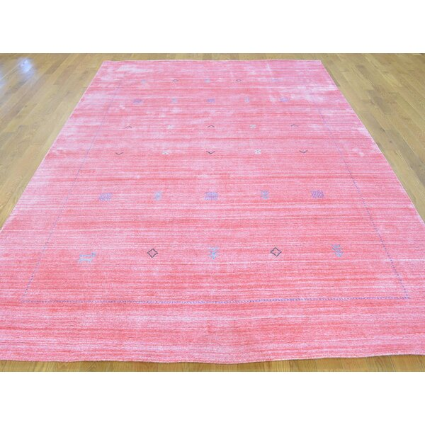 One-of-a-Kind Becker Art Handwoven Pink Wool Area Rug by Isabelline