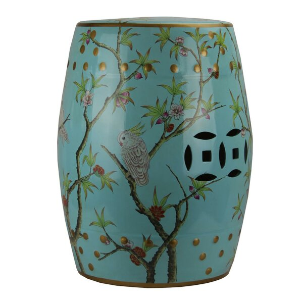Maliana Modern Contemporary Floral Porcelain Garden Stool by World Menagerie