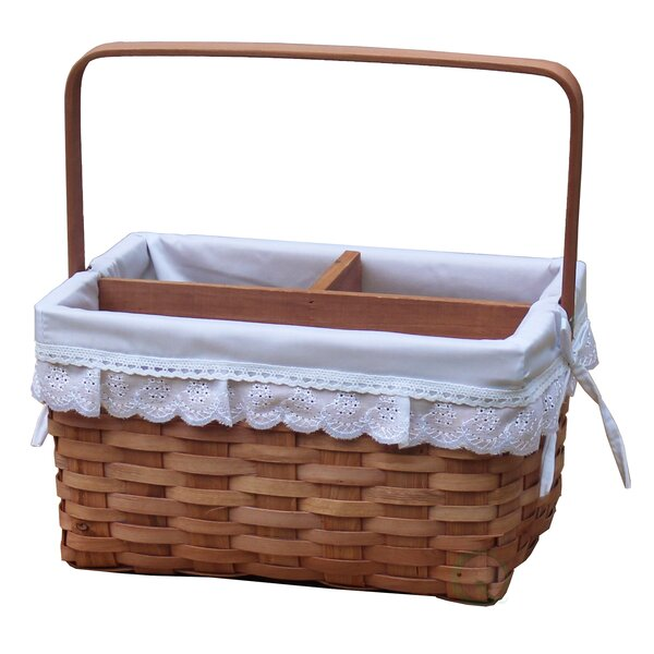 Woodchip Picnic Caddy Basket Lined with Lace Trim by Vintiquewise