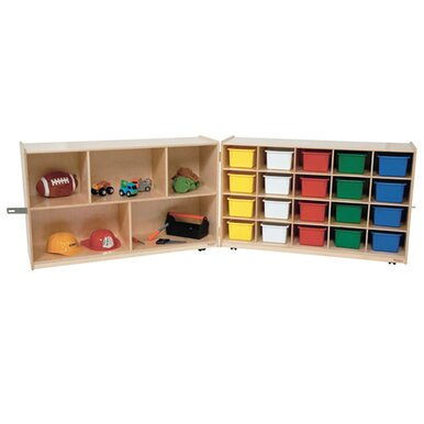 Half and Half Folding Storage 20 Compartment Cubby with Trays by Wood Designs