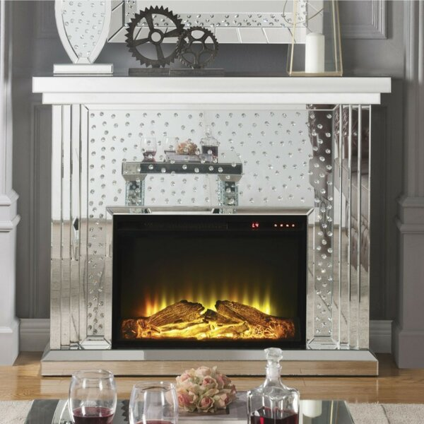 Declan Faux Crystal Inlaid Wooden Electric Fireplace With Remote Controller, Silver By Everly Quinn