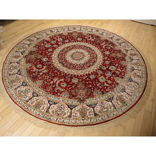 Shanelle Living Room Hand-Knotted Silk Red Area Rug by Astoria Grand