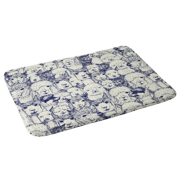 Sharon Turner just alpacas indigo Bath Rug