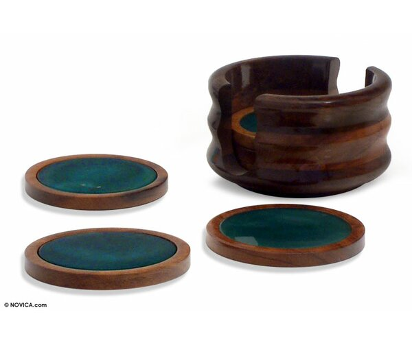7 Piece Handmade Agate Stone Coaster Set by Novica