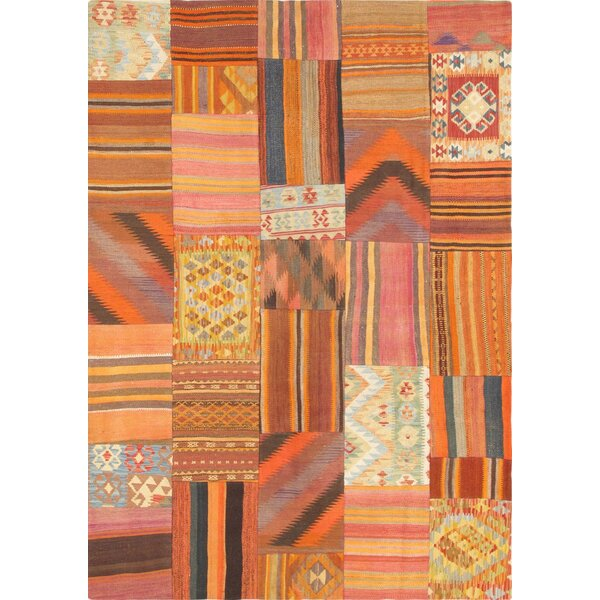 Patchwork Hand-Knotted Orange Area Rug by Pasargad