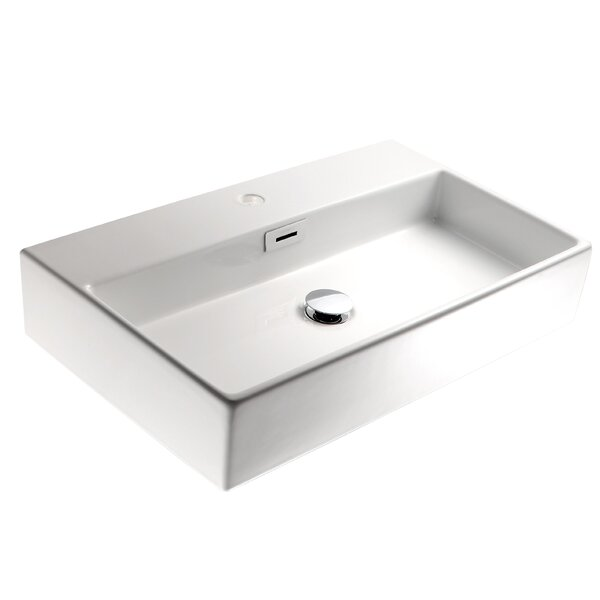 Quarelo Ceramic Ceramic Rectangular Vessel Bathroom Sink with Overflow by WS Bath Collections