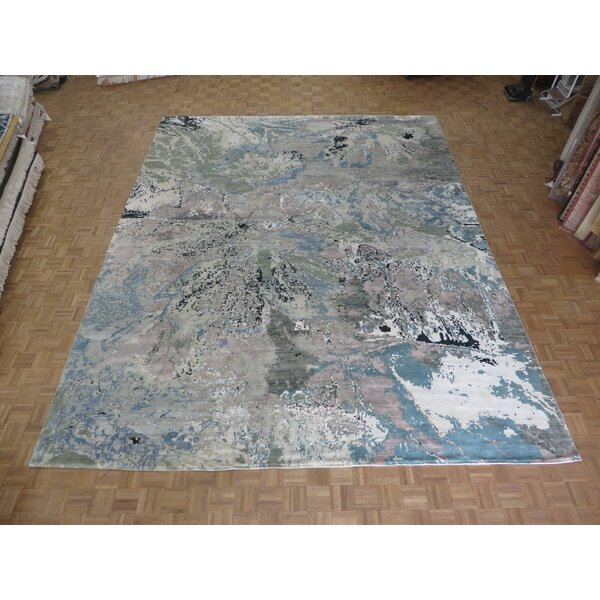 One-of-a-Kind Eady Hand-Knotted Beige/Sky Blue/Gray 12'1 x 15'3 Rectangle Area Rug