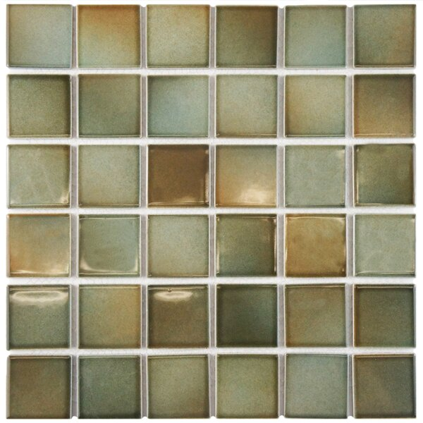 Arthur 2 x 2 Porcelain Mosaic Tile in Green/Brown by EliteTile