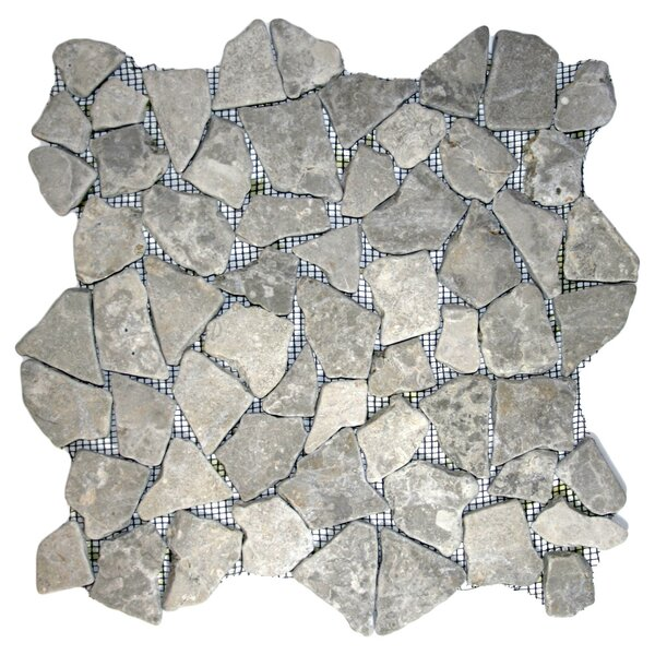 Kapuas Random Sized Natural Stone Mosaic Tile in Stone Gray by CNK Tile