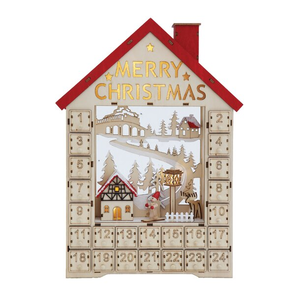 Wood House Advent Calendar with Boxes and LED by The Holiday Aisle