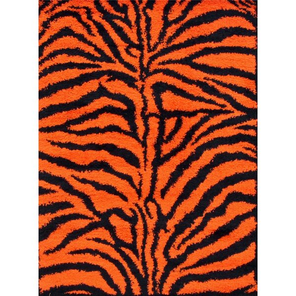 Tham Modern Shag Zebra Orange Area Rug by Bloomsbury Market