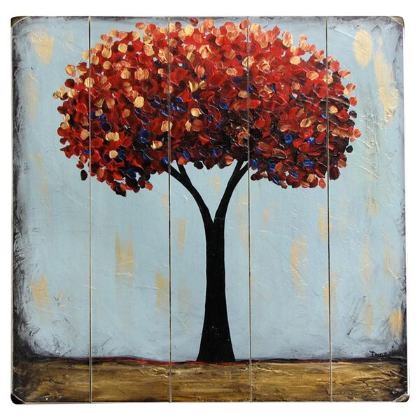 Trees Painting Print Multi-Piece Image on Wood in Ruby by Artehouse LLC