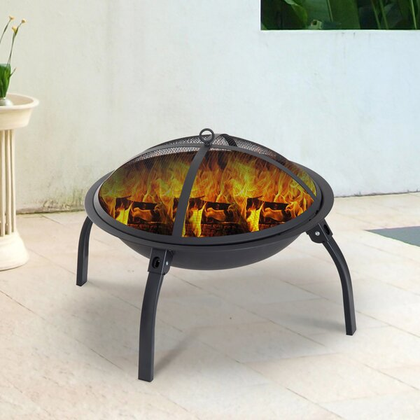 Steel Wood Burning Fire Pit with Poker by Outsunny