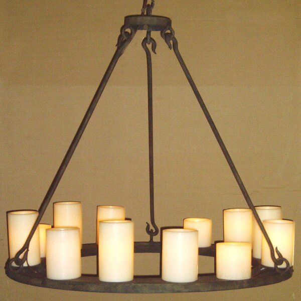 Nickolas 12 - Light Shaded Wagon Wheel Chandelier By Longshore Tides
