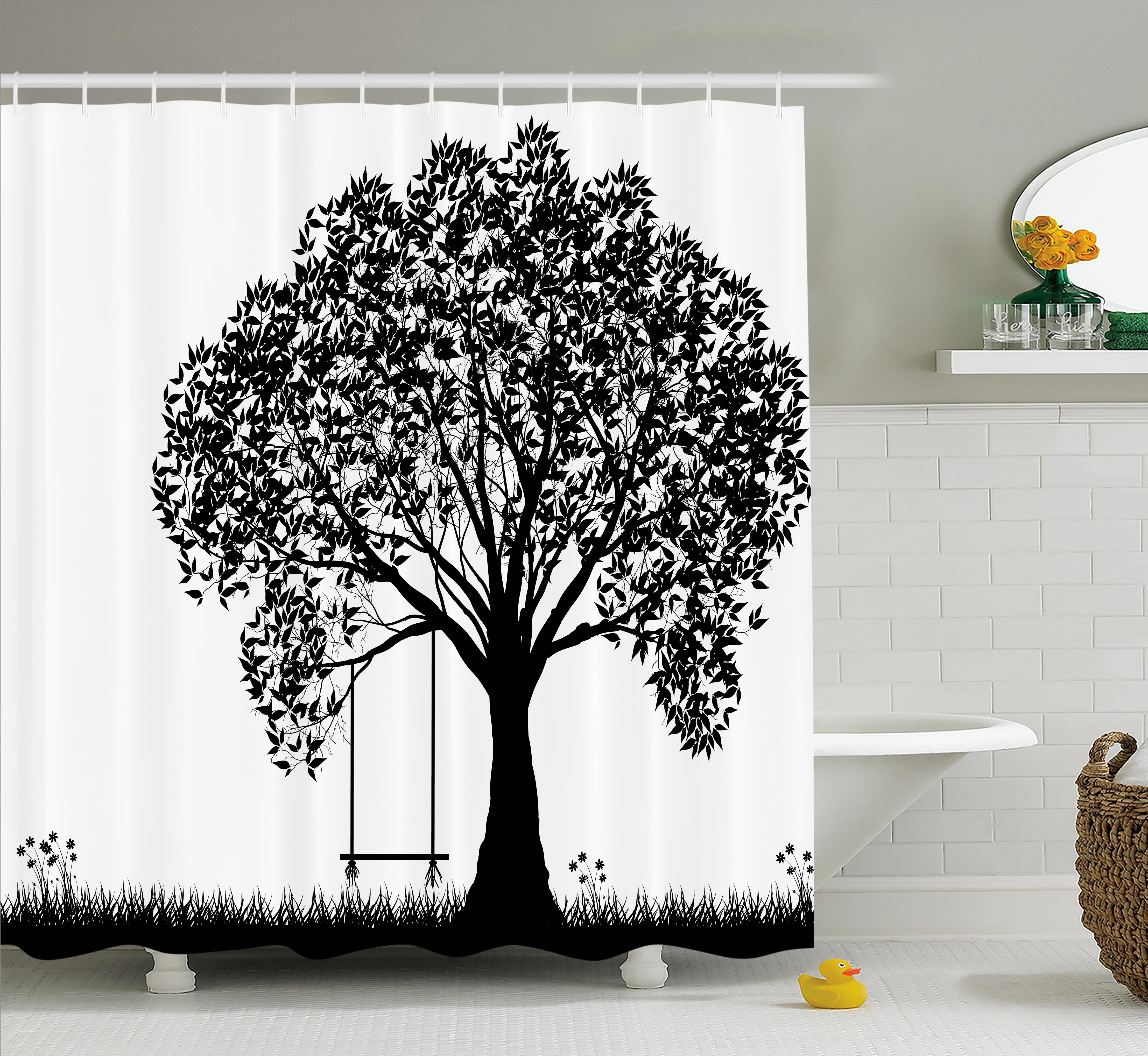 Ebern Designs Carolyn A Tree Silhouette With A Swing Illustration
