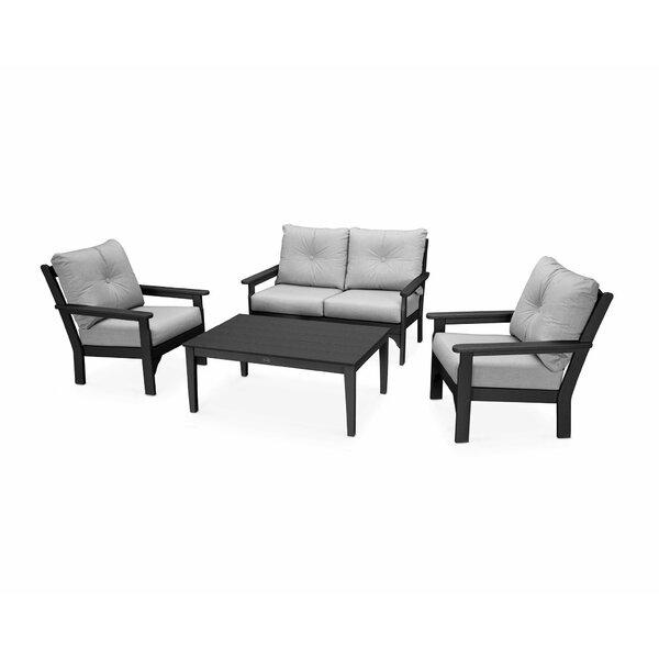 Vineyard 4 Piece Sofa Set with Sunbrella Cushions by POLYWOOD®