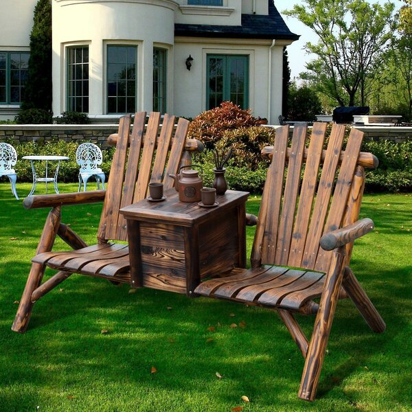 Gwen Solid Wood Double Adirondack Chair with Table by Millwood Pines Millwood Pines