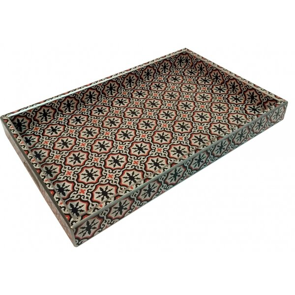 Rectangle Red/Black Tray by Bungalow Rose