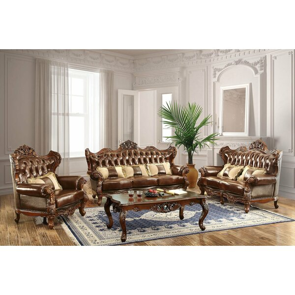 Review Durden 3 Piece Leather Living Room Set