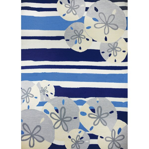 Dalvey Striped Handmade Looped/Hooked Beige/Blue Area Rug