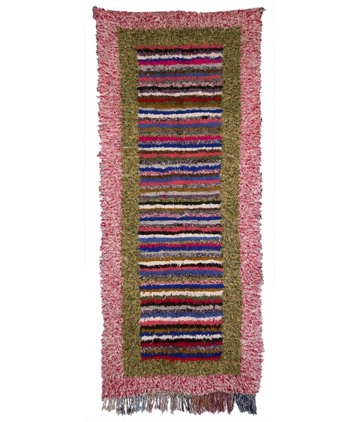 Boucherouite Azilal Hand-Woven Pink/Green Area Rug by Casablanca Market