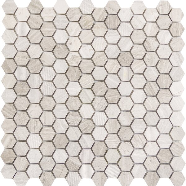 Metro Hex Mix 1 x 1 Marble Mosaic Tile in Cream by Emser Tile