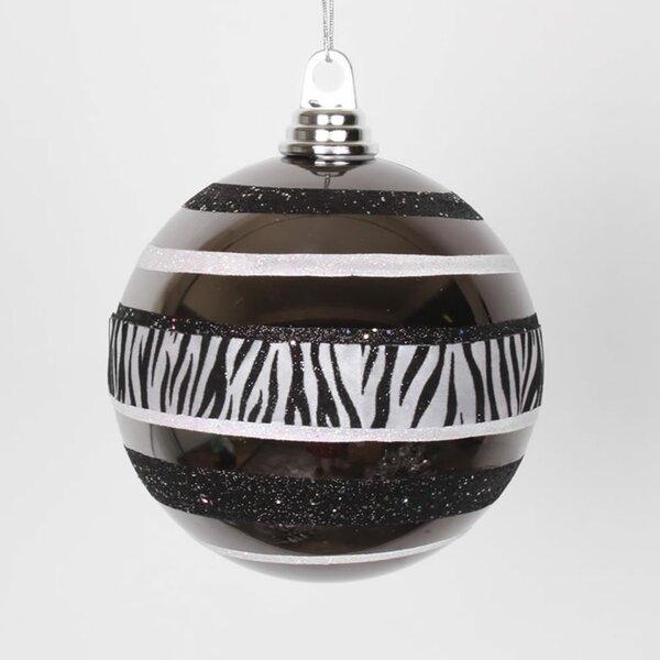 Diva Safari Zebra Print and Stripe Commercial Size Christmas Ball Ornament by Vickerman