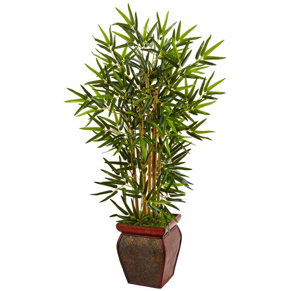 Artificial Floor Lush Bamboo Tree in Planter by Bloomsbury Market
