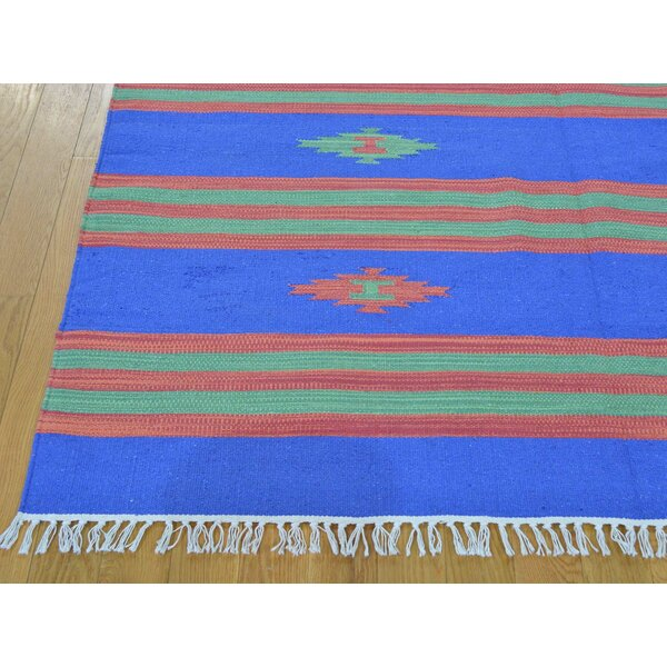 One-of-a-Kind Bilbrook Striped Killim Handwoven Blue Wool Area Rug by Isabelline