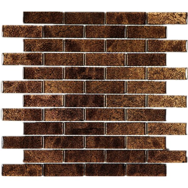 Wall Paper Underneath 1 x 3 Glass Mosaic Tile in Brown Foil by Multile