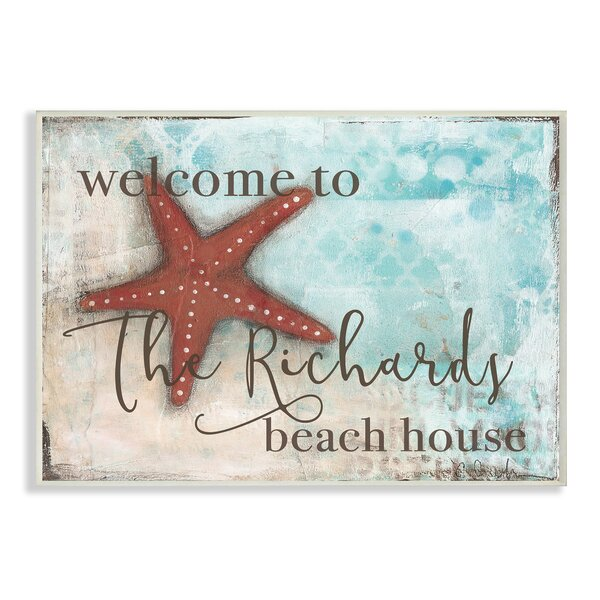 Personalized Beach House with Starfish Wall Plaque Art by Stupell Industries